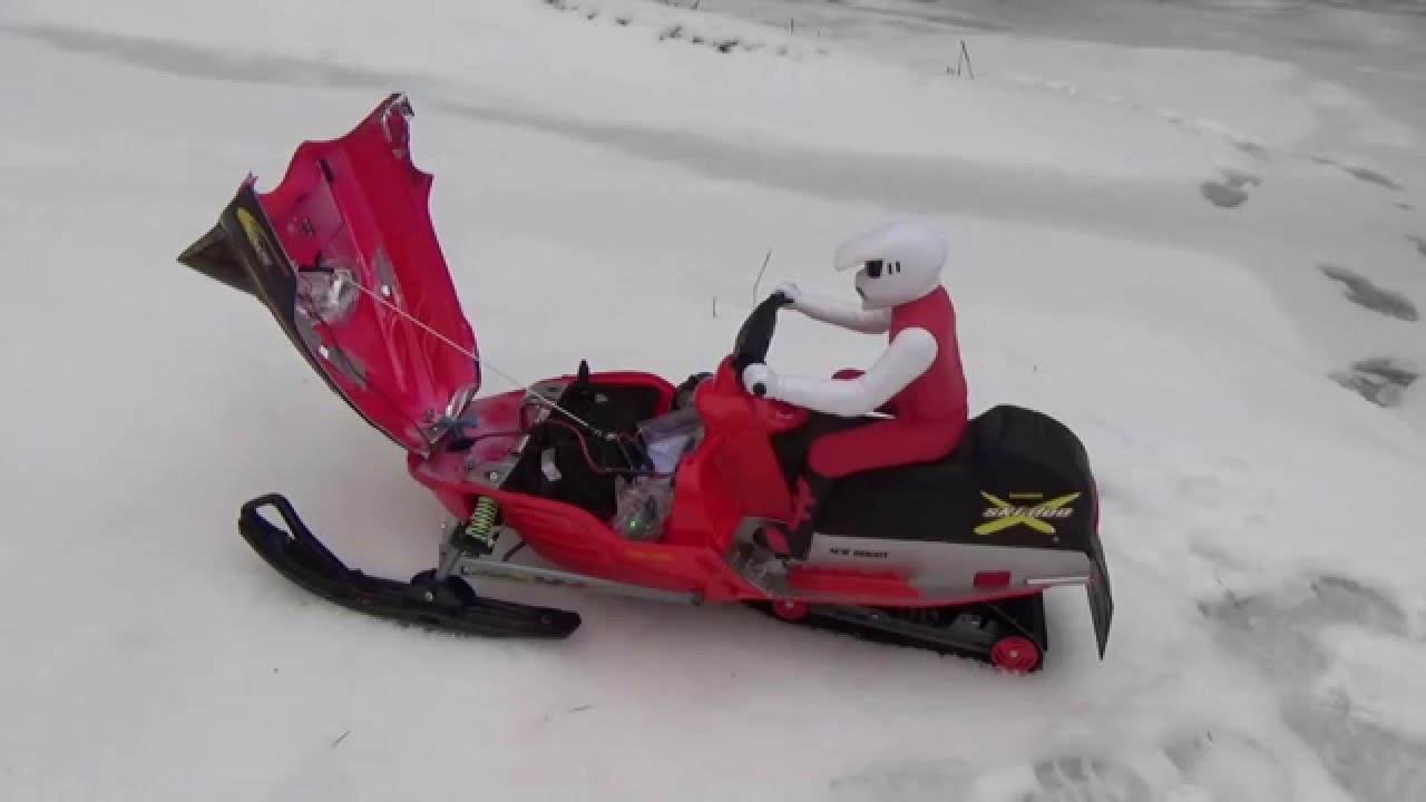 Rc snowmobile on bmx track skidoo new bright brushless 11 ...