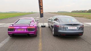 DRAG RACE! AUDI R8 V10 PLUS VS TESLA MODEL S P100D!