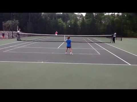 My daughter's first USTA tennis match win, May, 2013