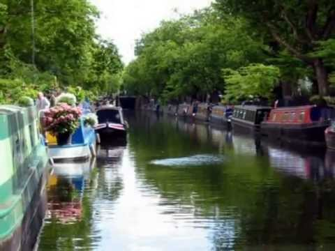 Little Venice floating boat market, theatre boat, houseboats, boat and bridge cafes, W2 & W9
