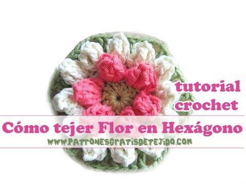 Como tejer flor en hexagono al crochet youtube - Como tejer mantas al crochet ...