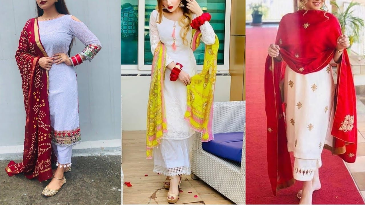 Latest White Dress Colour With Contrast Duppata || White Colour Combination Idea || Styling Tips