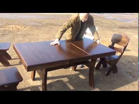 Прямой обеденный раздвижной стол из массива дерева скачать