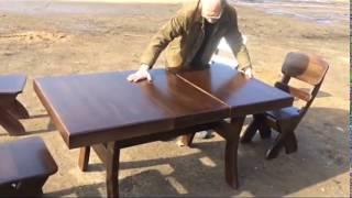 видео стол обеденный из массива дерева