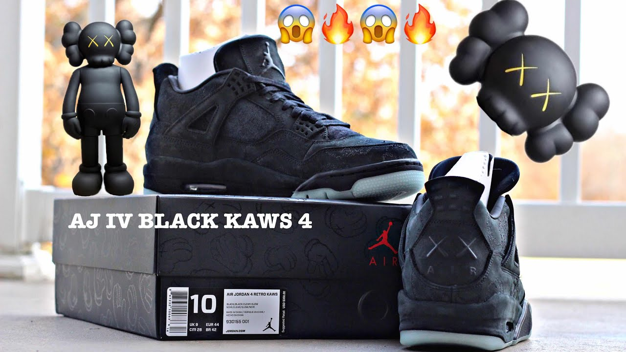 7d5e83c84d03b1 Air Jordan 4 BLACK KAWS!!!!!!! First Look Before CYBER MONDAY - YouTube