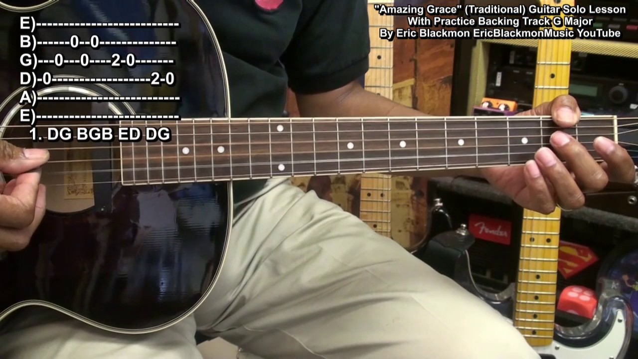 amazing grace easy guitar solo lesson with backing track ericblackmonguitar hd youtube. Black Bedroom Furniture Sets. Home Design Ideas