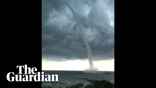 Large waterspout forms as New Orleans inundated with flooding
