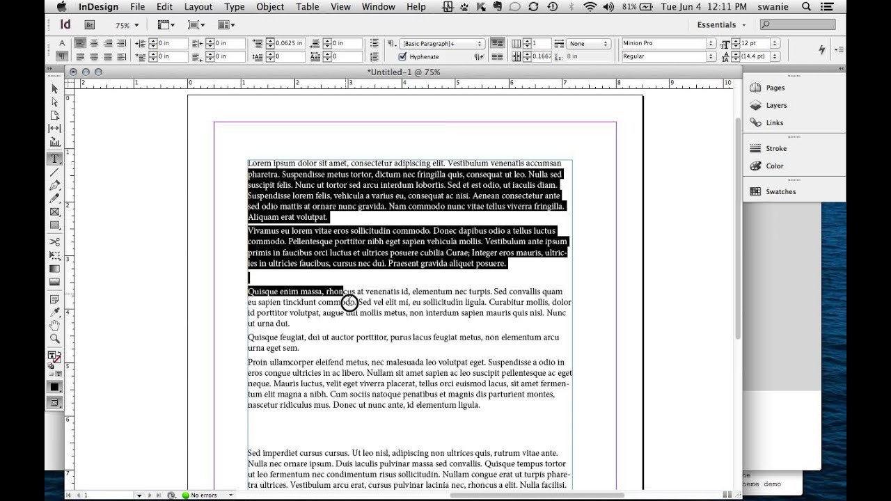 how to delete lines indesign
