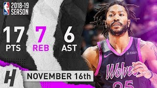 Derrick Rose Full Highlights Wolves vs Trail Blazers 2018.11.16 - 17 Pts, 6 Ast, 7 Reb