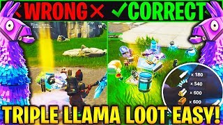 HOW TO GET TRIPLE LLAMA LOOT IN FORTNITE! (New TRIPLE LLAMA LOOT Trick - Get MORE Llama Loot Tip)