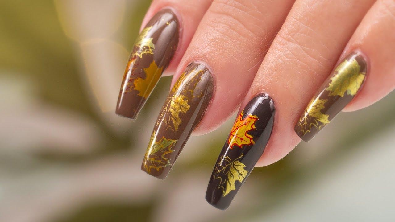Fall Leaves Nail Art - YouTube
