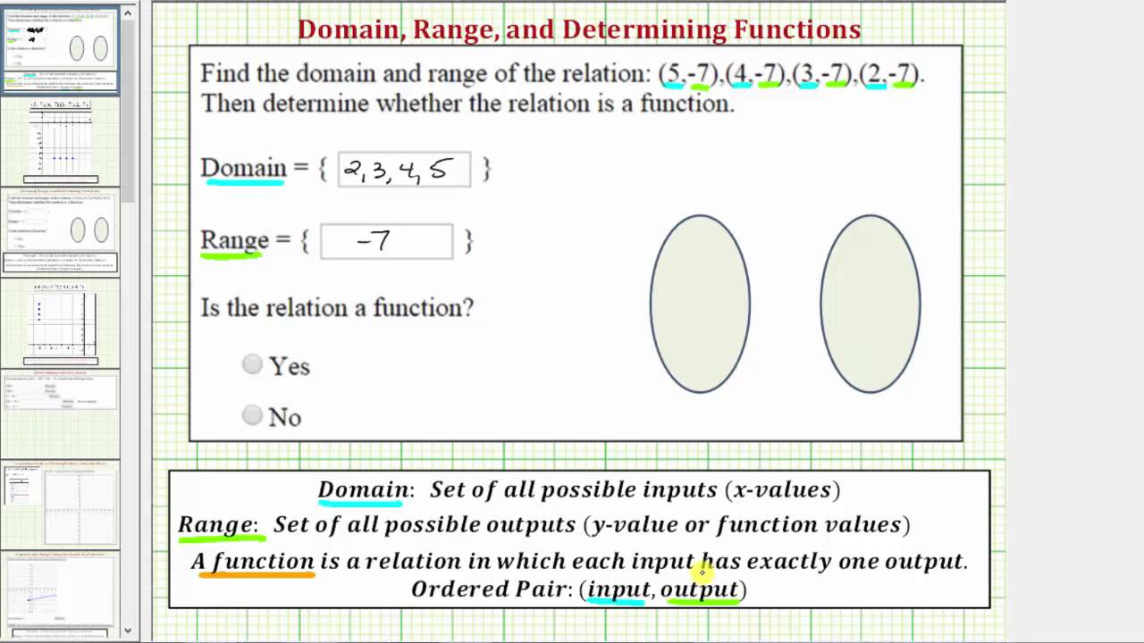 Ex 1: Find Domain and Range of Ordered Pairs, Function or Not