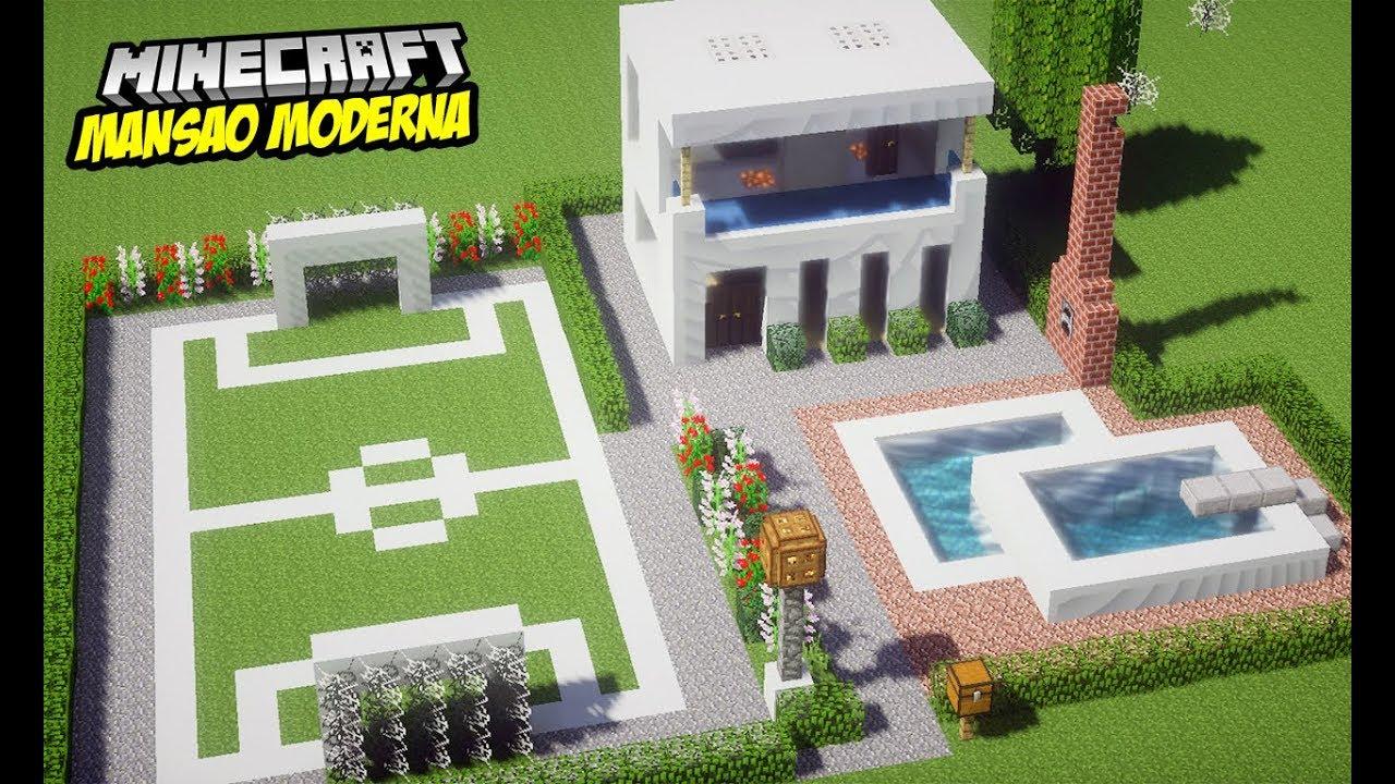 Minecraft construindo uma casa moderna com piscina e for Casa moderna 1 8