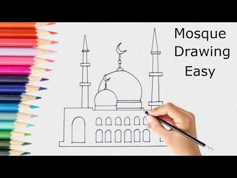 Mosque Drawing step by step || How to draw Mosque