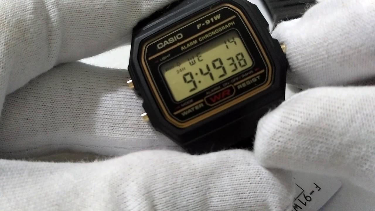 cb21c7596a9 Como Ativar o Alarme e bip de horas no Relogio Casio F91W - YouTube