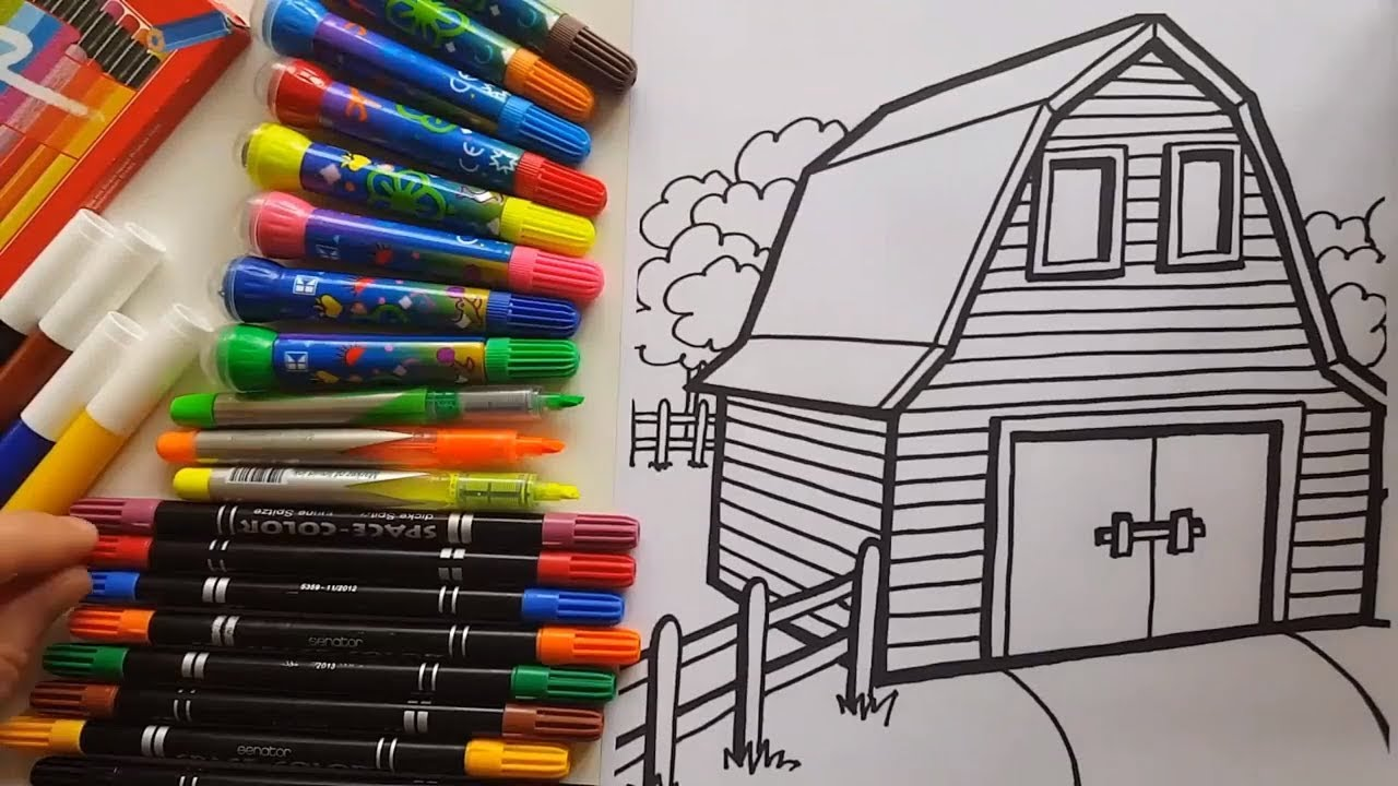 Barn coloring Farm barn coloring pages kids fun art activities video ...