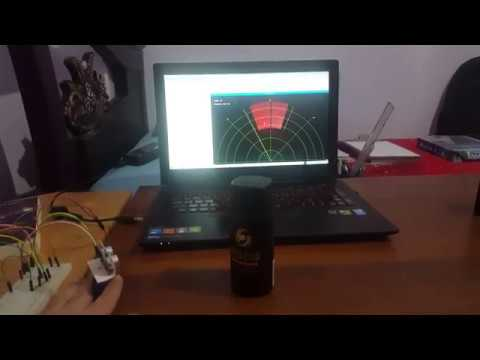 Radar simulation using raspberry pi, servo motor and hc-sr04 ultrasonic  sensor