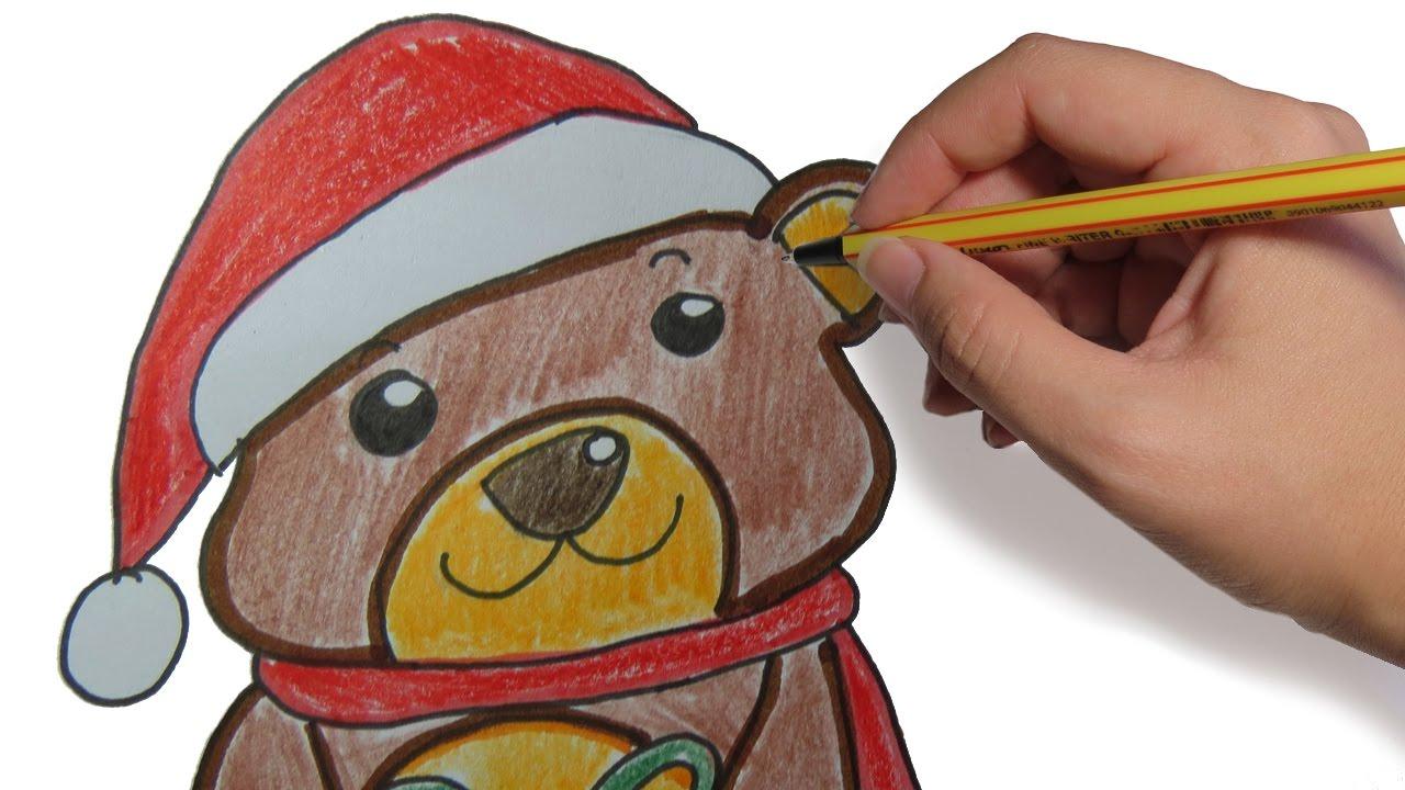 Como dibujar un oso navide o sencillo paso a paso dibujos - Dibujos navidad en color ...