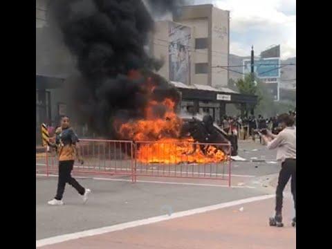 SLC Police Car Set On Fire (Language Warning)