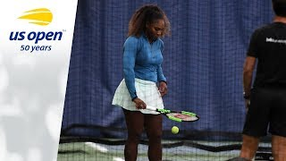 Serena and Venus Williams On The 2018 US Open Tennis Practice Courts