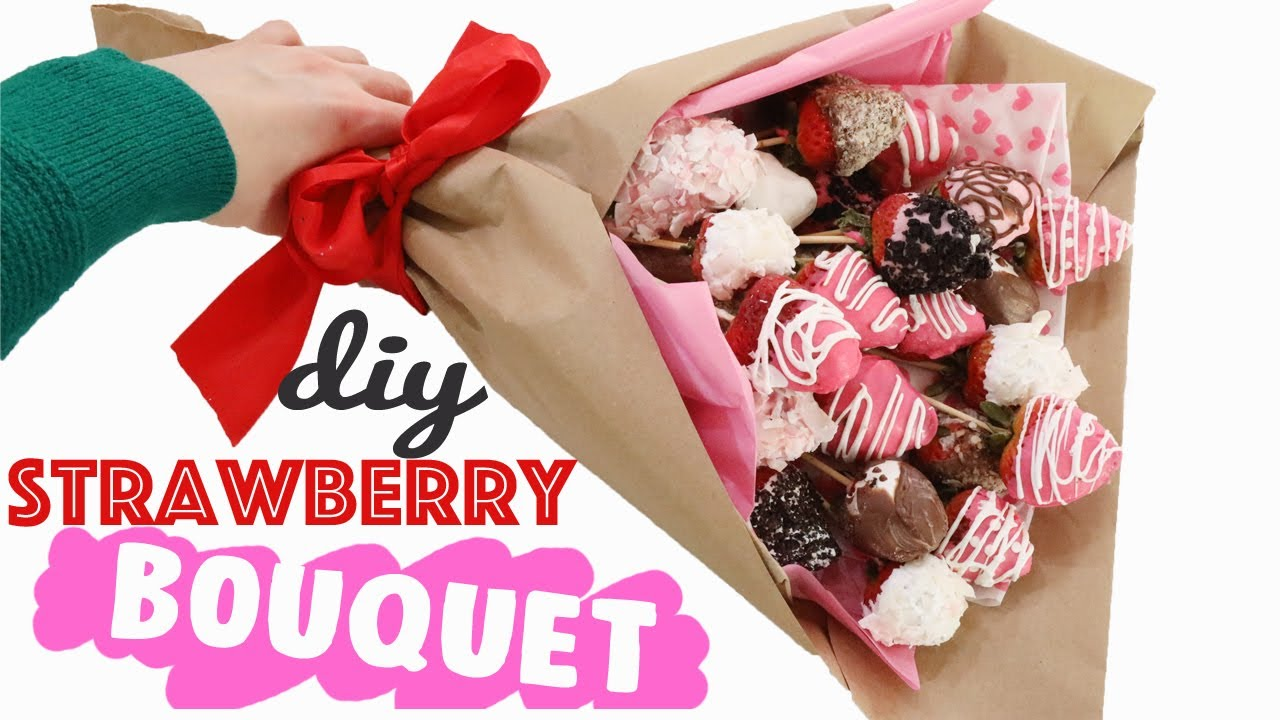 Diy Chocolate Strawberry Bouquet Tutorial Easy Valentines Day Gift Ideas For Her Youtube