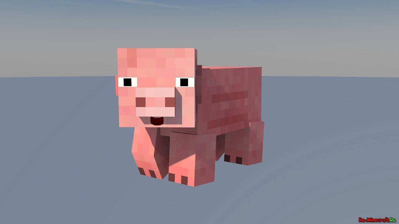 моб свинья в 3д в майнкрафте #4