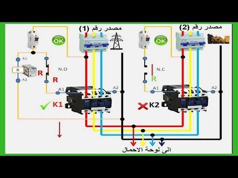 شرح ats  الربط بين كهرباء الشبكة والمولد باستخدام كونتاكتور وريلاى - الدرس الاول