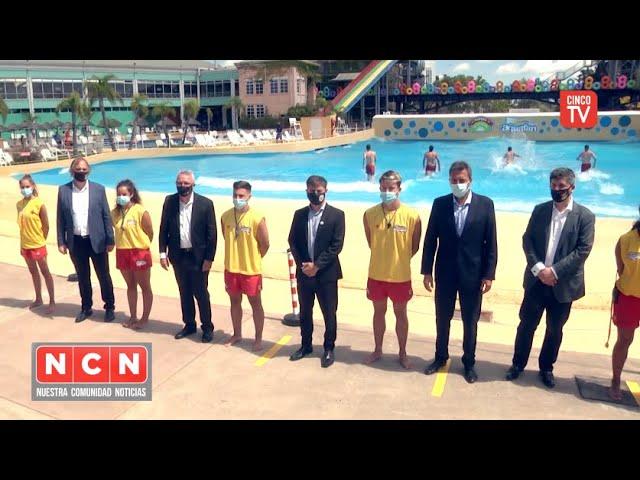 CINCO TV - Julio Zamora acompañó el acto de reapertura del complejo Parque de la Costa