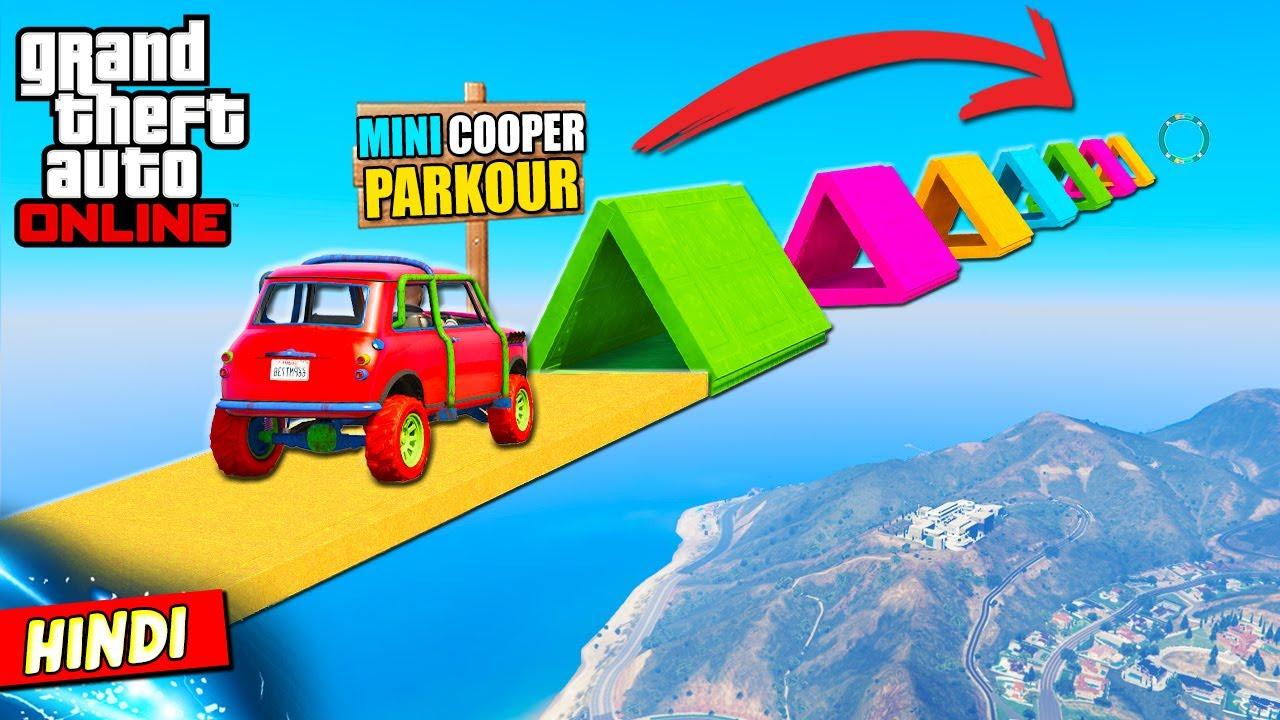 GTA 5 : MINI COOPER CAR PARKOUR RACE (TRIANGLE RAMPS) 🚗🎯