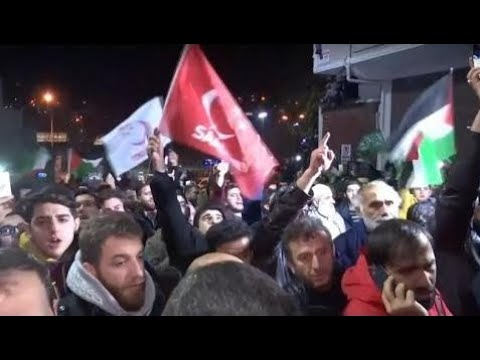 Turkish People Protest President Trump's US Embassy Move to Jerusalem 12/6/17 HOT NEW