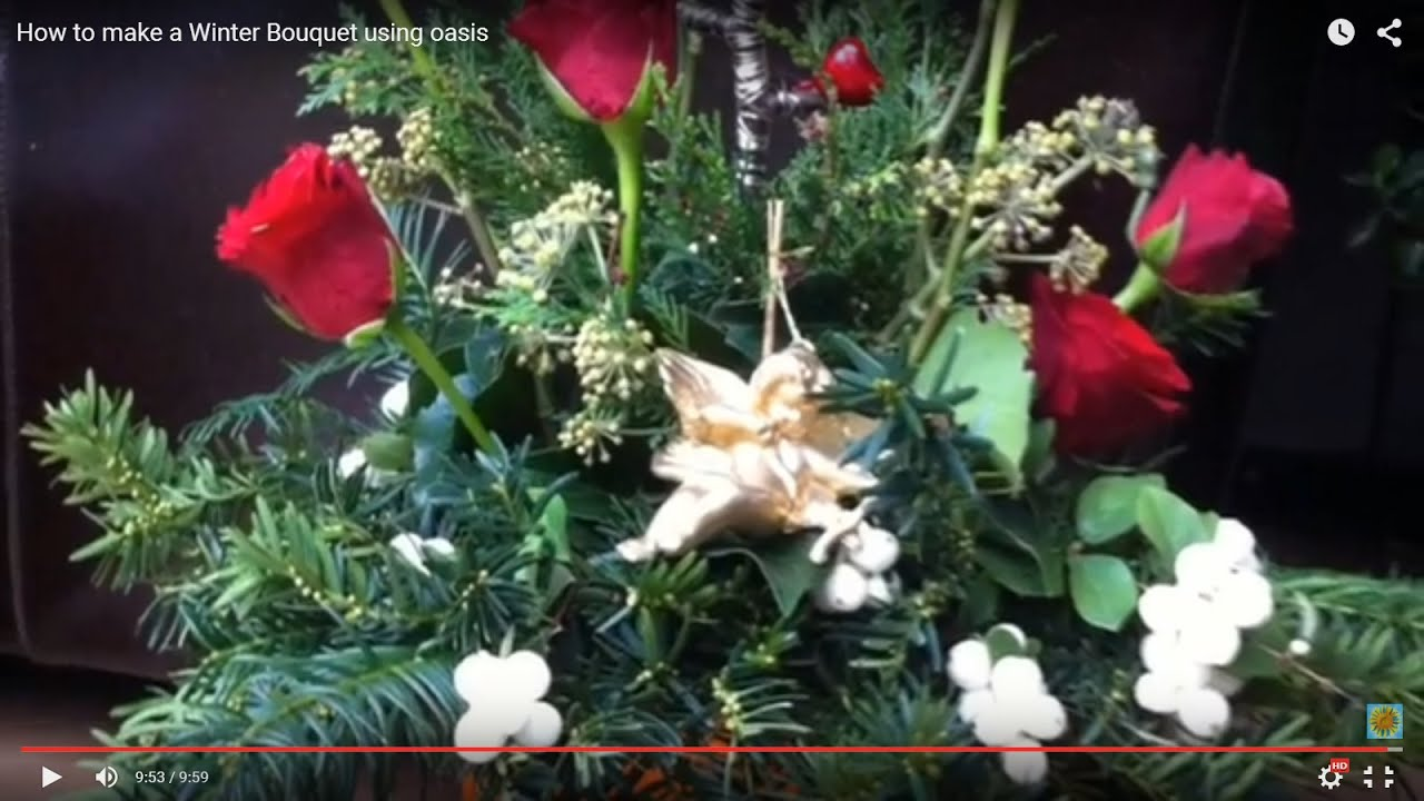 How to Make a Winter Flower Bouquet Using Oasis - YouTube