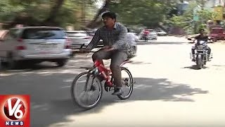 GWMC Commissioner Gautham Attends Office On Bicycle | Warangal | V6 News