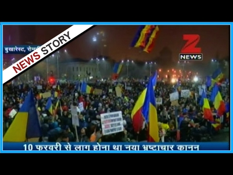 Huge protest on the roads of Romania
