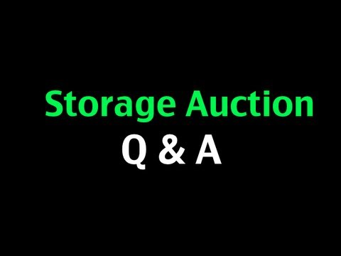 Storage Auctions Webinar Q & A   by Glendon Cameron