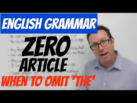English grammar - Definite article and zero article - gramática inglesa