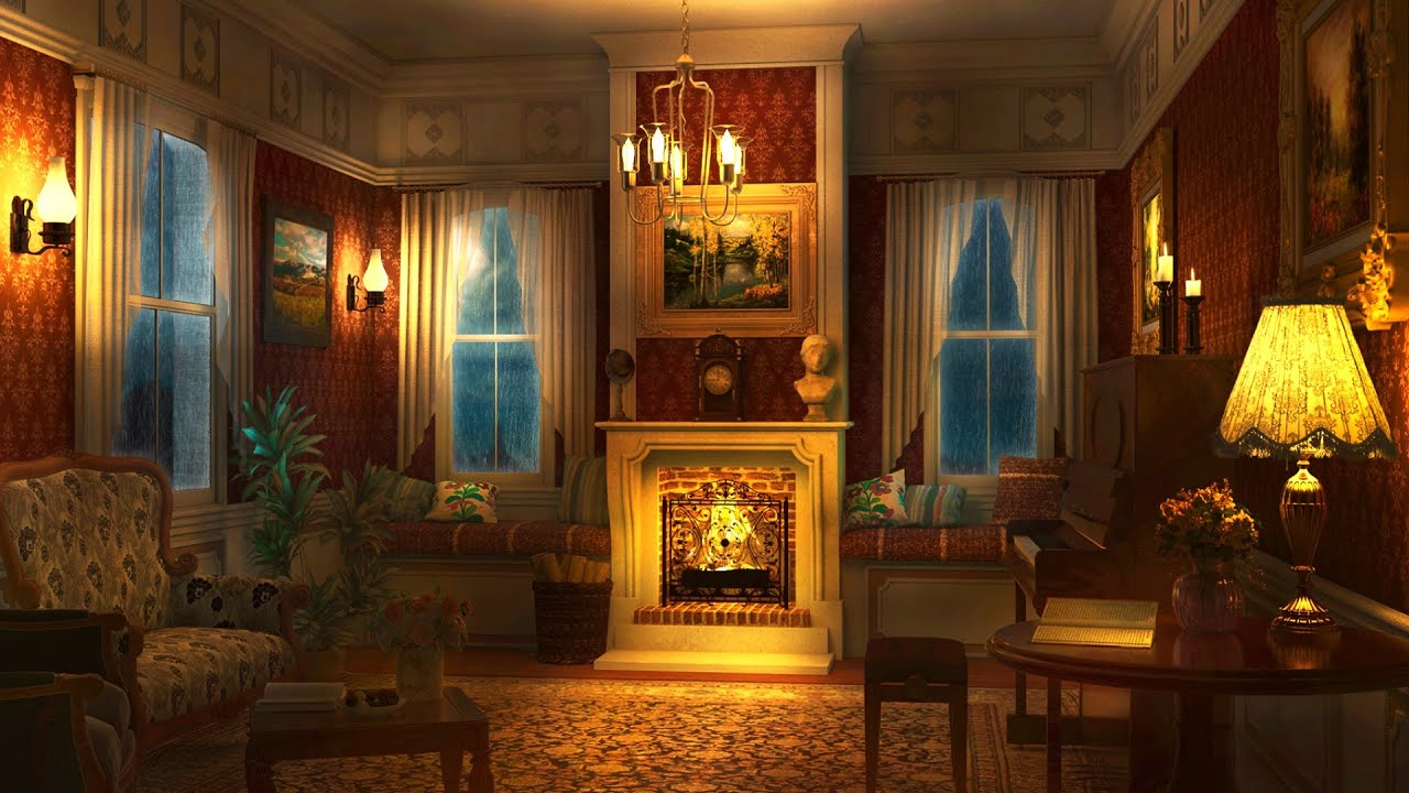 Crackling Fireplace with Rain Sounds - Cozy Victorian Ambience at Night for Sleep, Relax, Study