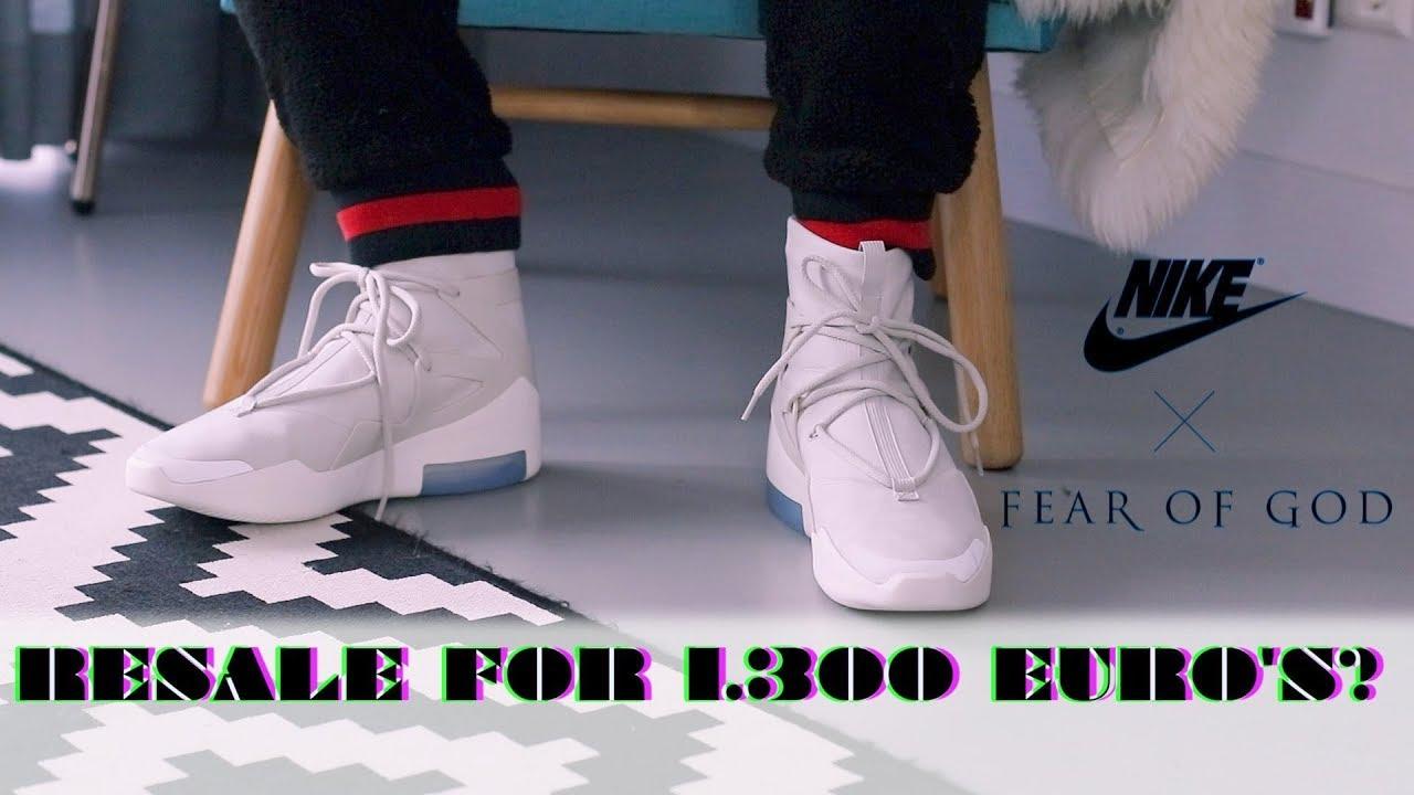 Nike Air Fear Of God 1 Light Bone On Feet Man Cave Youtube