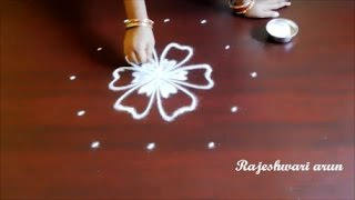 simple flower rangoli designs with 5 dots || chukkala muggulu with dots || easy kolam designs