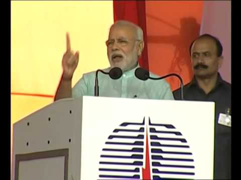 PM Modi addresses the gathering after launching various Development Projects in Jharkhand