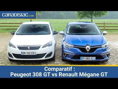 Comparatif 2016 Peugeot 308 GT vs Renault M gane GT derby attendu
