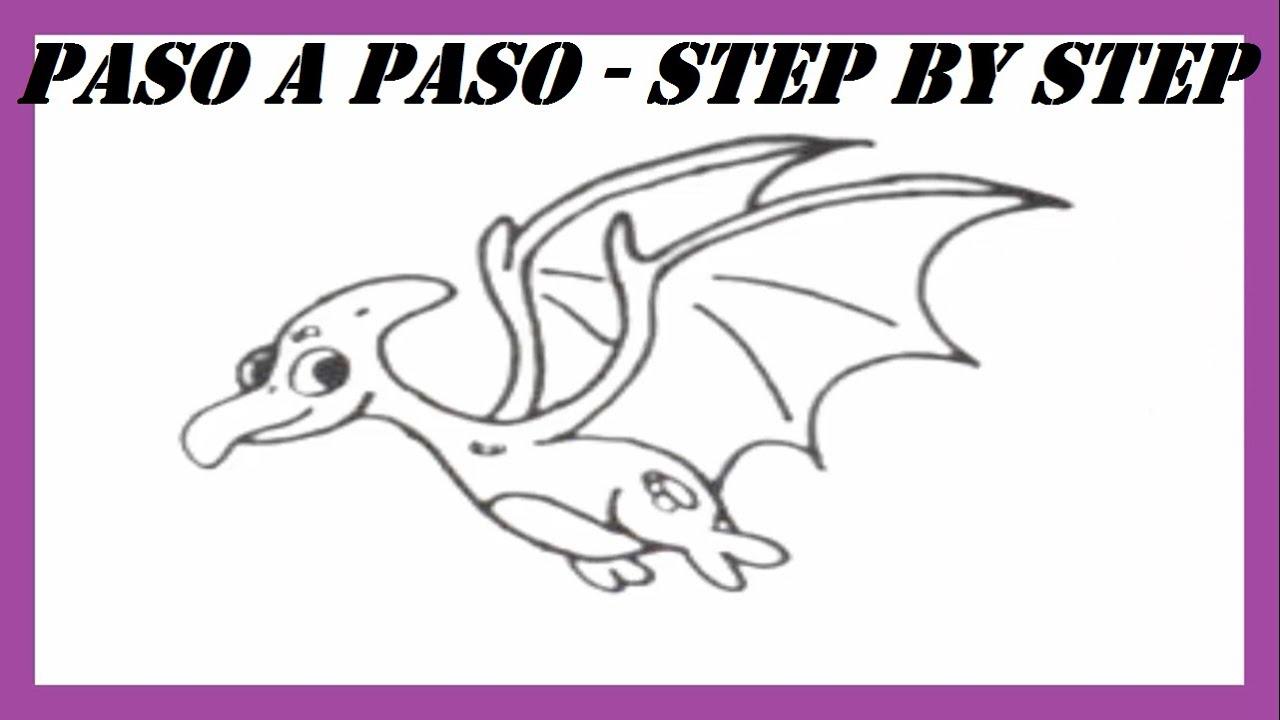 Como dibujar un Dinosaurio Pterodáctilo l How to draw a Dinosaur ...