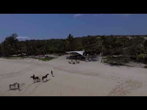 Aerial video flyover of andBeyond Benguerra Island, Mozambique