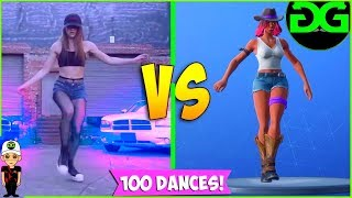 FORTNITE DANCES VS REAL LIFE - Daydream , Flux , Electro Swing , Smooth Moves