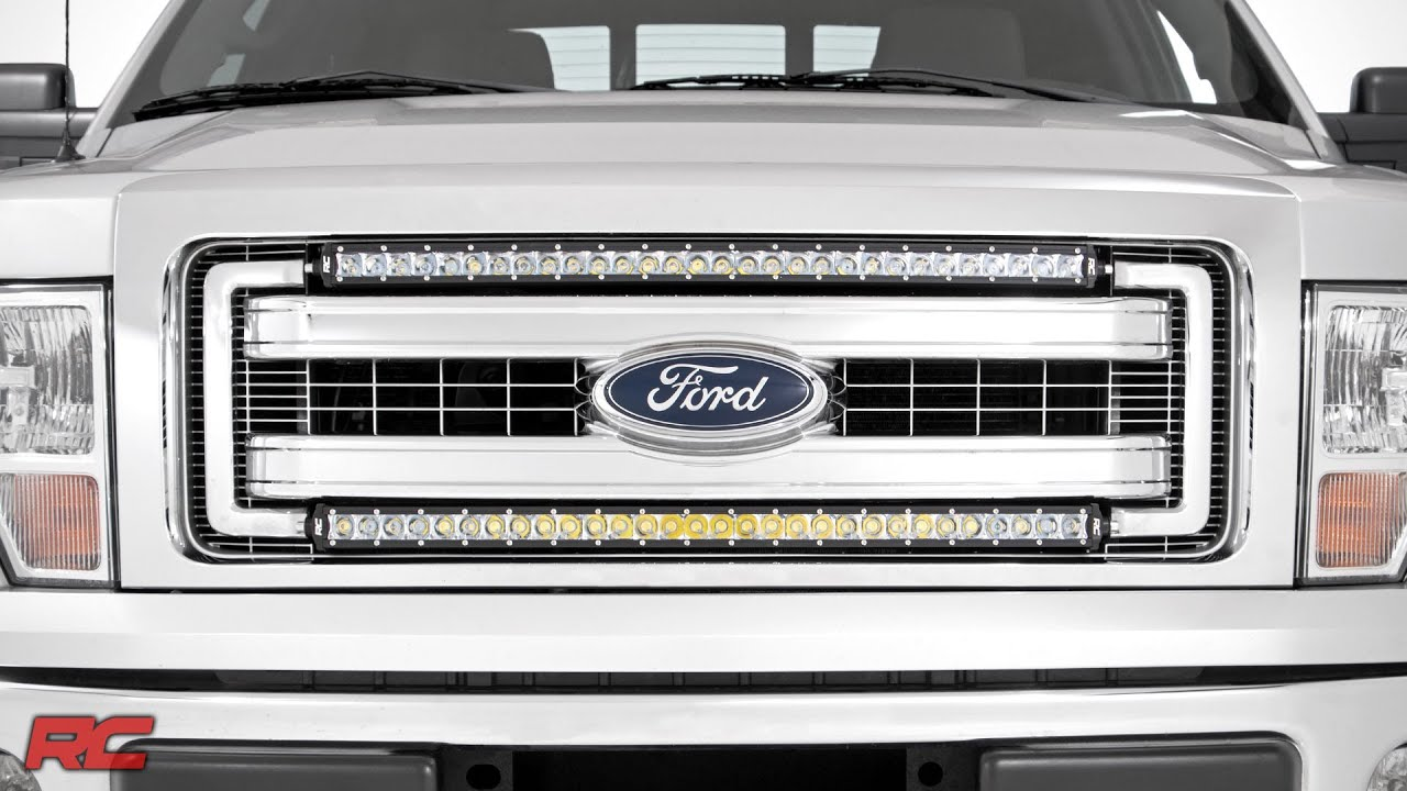2009 2014 ford f 150 30 inch curved single row led light bar grille 2009 2014 ford f 150 30 inch curved single row led light bar grille mount kit by rough country youtube aloadofball Images
