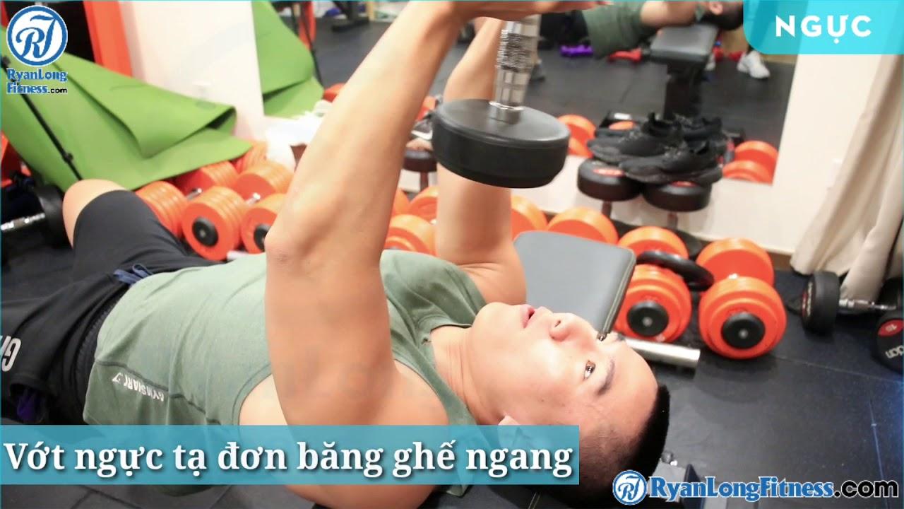 Vớt ngực tạ đơn băng ghế ngang   Nam   Junie HLV Ryan Long Fitness