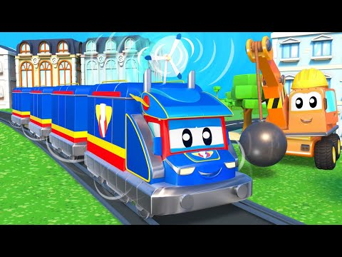 Super Truck -  SUPER TRAIN produces ELECTRICITY with WIND TURBINE - Car City - Cartoons for kids