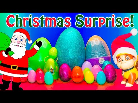 SURPRISE CHRISTMAS Eggs with Paw Patrol + Santa Clause + Scooby Assistant Surprise Egg Video