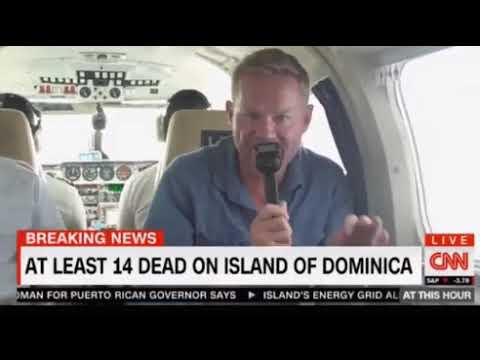 CNN flight over Dominica after Maria, 14 dead, vegetation gone, properties damaged, airport closed