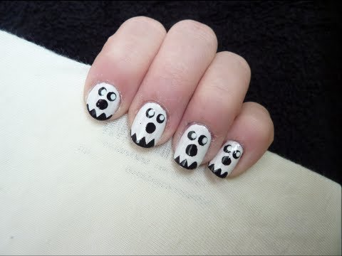 Cute Ghost Nail Art. - Cute Ghost Nail Art. - YouTube