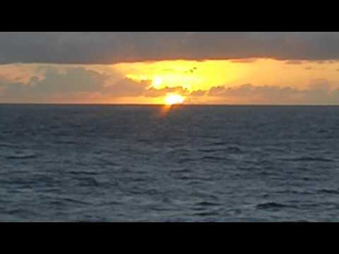 Mariana Trench South Pacific Ocean Sunset View from cruise ship.